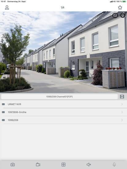 Screenshot App iUVS für mobile Videoüberwachung